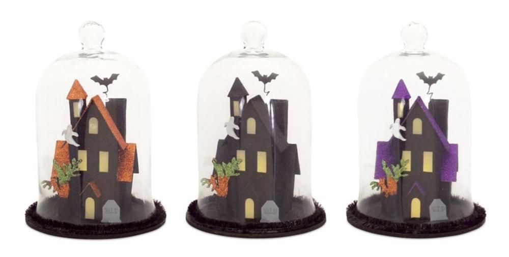 Indoor Halloween Tabletop Decor Set of 3 LED Haunted House with Dome