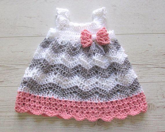 Baby Girl Crochet Dress, Baby Shower Gift Little Girl Dress, Chevron ...