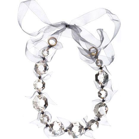Amanda Pearl Vintage Crystal Necklace, Platinum Organza