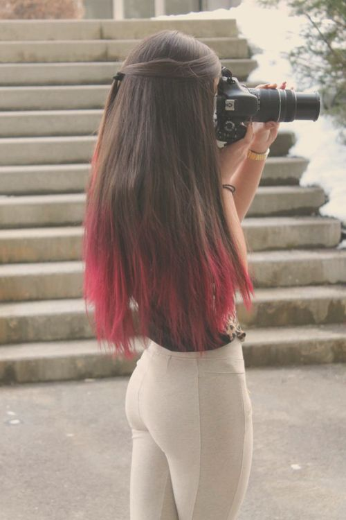 Untitled Via Tumblr Red Hair Tips Colored Hair Tips Red Ombre Hair