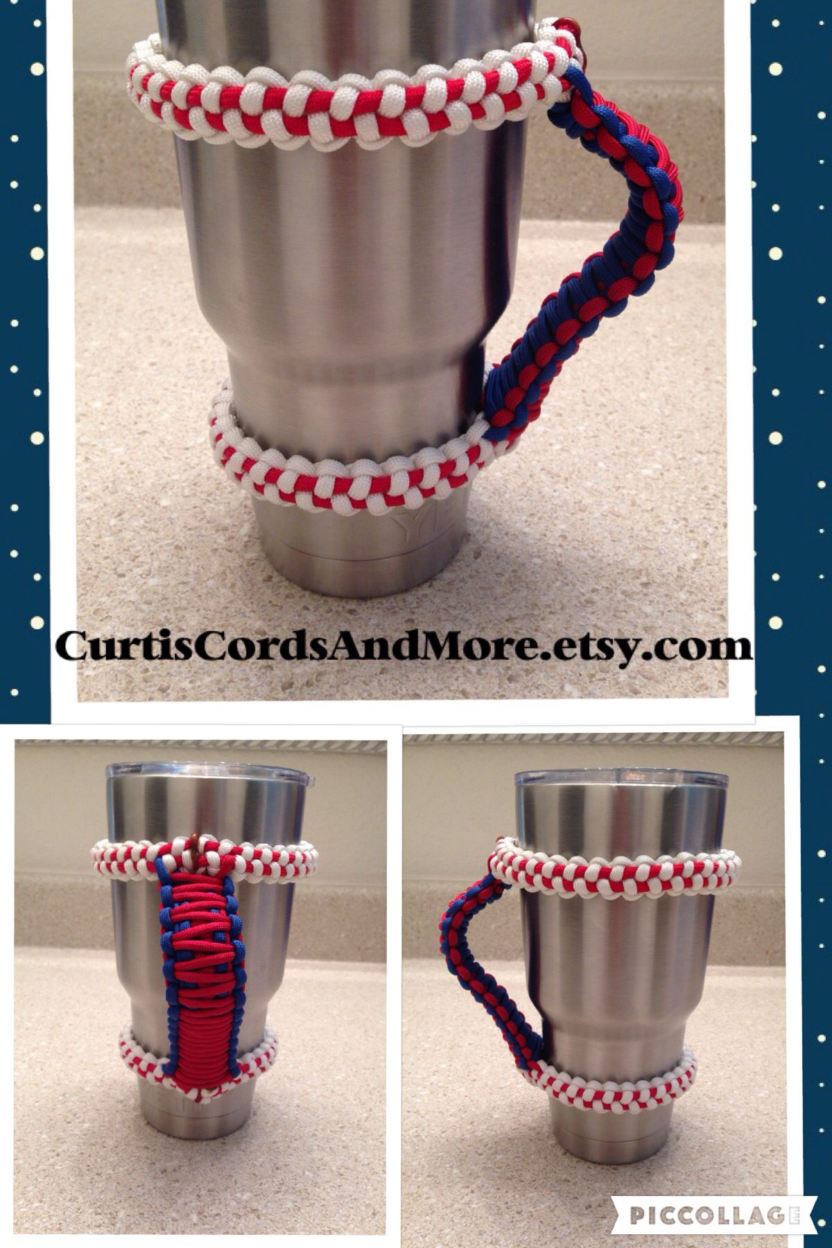 Brand new design! Baseball stitch with team colors on the handle! Check out this AWESOME paracord handle handmade in the USA for the 30 oz Yeti and also fits the Tervis Tumbler! Another great creation by Curtis Cords & More! #yetihandle #tervishandle. #yetiparacordhandle #Paracordhandle #CurtisCordsAndMore #Baseball #BaseballStitch #MLB Curtiscordsandmore.etsy.com