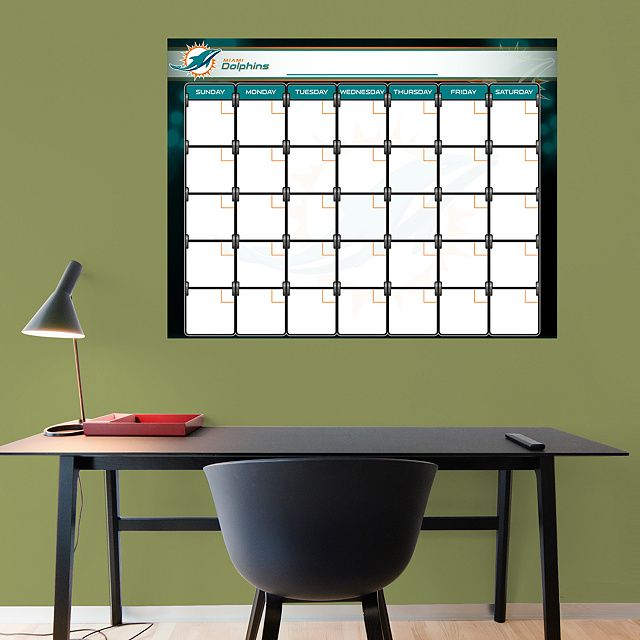 Miami Dolphins 1 Month Dry Erase Calendar REAL.BIG. Fathead – Peel & Stick Wall Graphic | Miami Dolphins Wall Decal | Sports Home Décor | Football Bedroom/Man Cave/Nursery