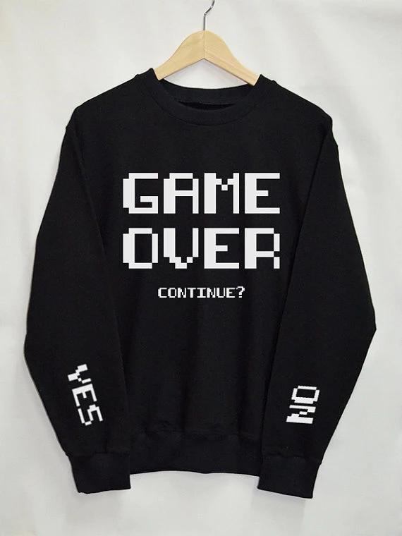 Game Over continuer Sweatshirts femmes Top Tumblr tops Mode Drôle Texte Slogan Dope Jumper tee graphique cool pulls décontractés   – Sweatshirt