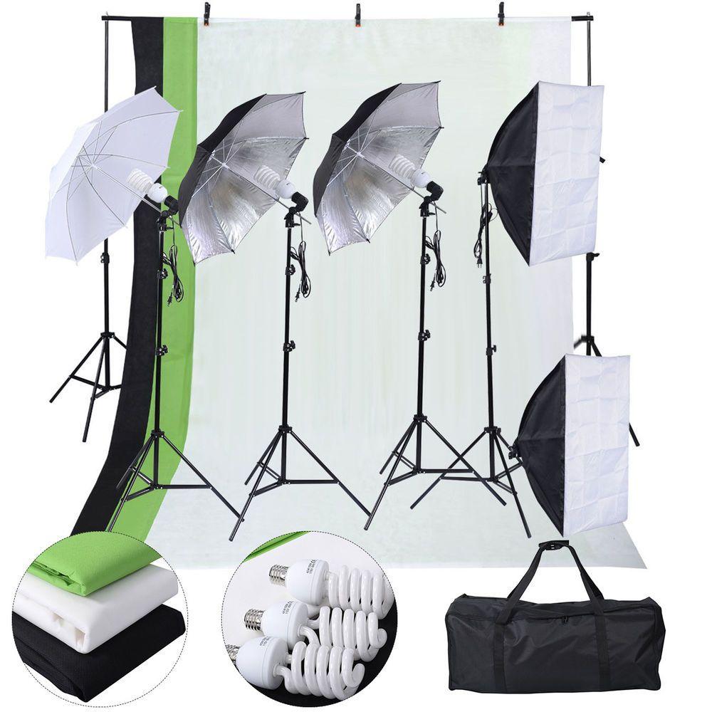 New Photo Studio Photography Kit 4 Light Bulb Umbrella Muslin 3 Backdrop Stand #UnbrandedGeneric