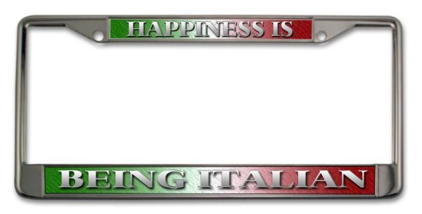 Happiness Is Being Italian License Plate Frame | Guido Stuff for ...