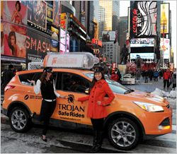 #causemarketing Trojan is marking Condom Awareness Week by using game show-style taxi trips in New York City and a history of condoms documentary to promote the brand.    The rubber is literally meeting the road -- pun intended -- as the condom makers deploys a fleet of Trojan Safe Ride taxis to drive home the facts about condoms. Americans are invited to get in and gauge their sexual health IQ by participating in a condom trivia game while en route to their destination.