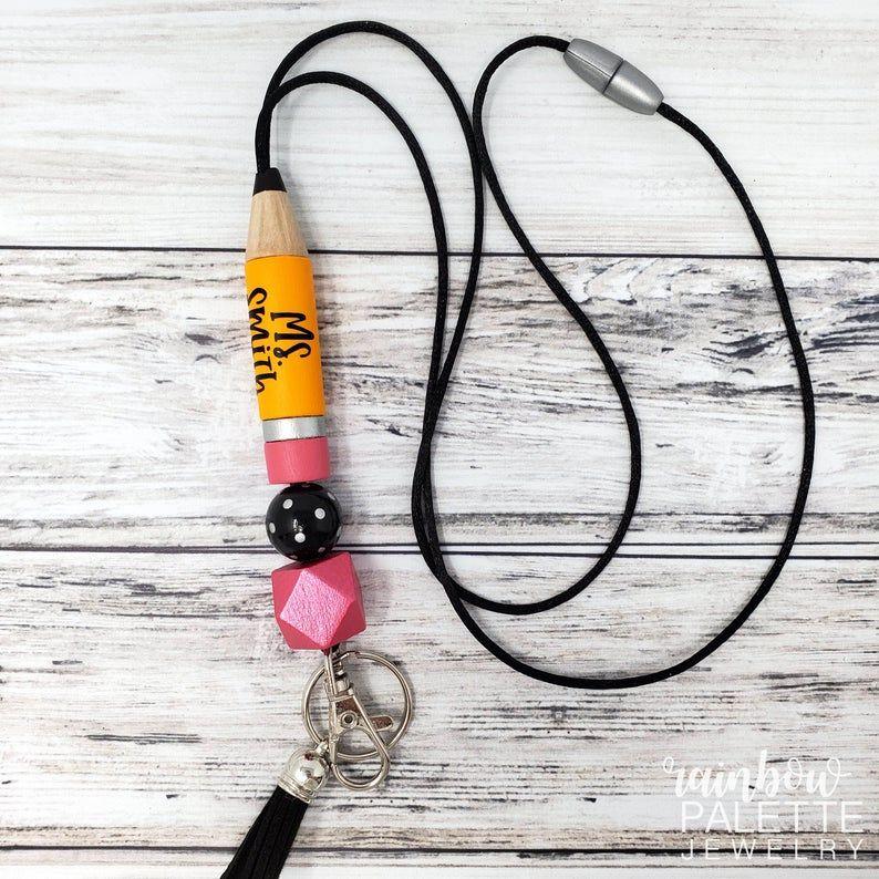 Pencil Personalized Teacher Lanyard