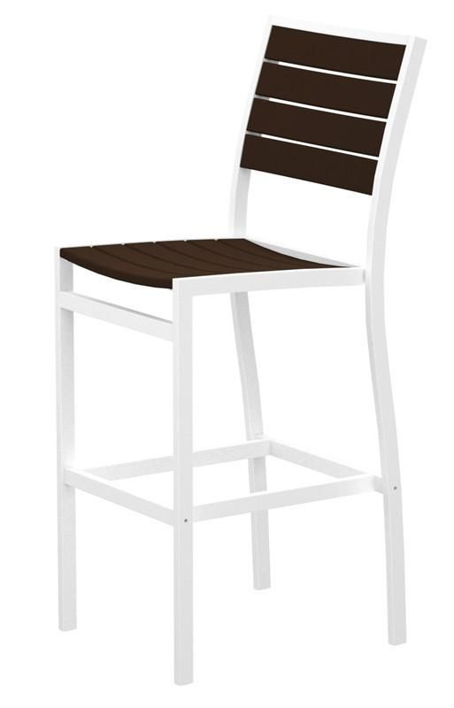 Polywood A102-13MA Euro Bar Side Chair in Textured White Aluminum Frame / Mahogany
