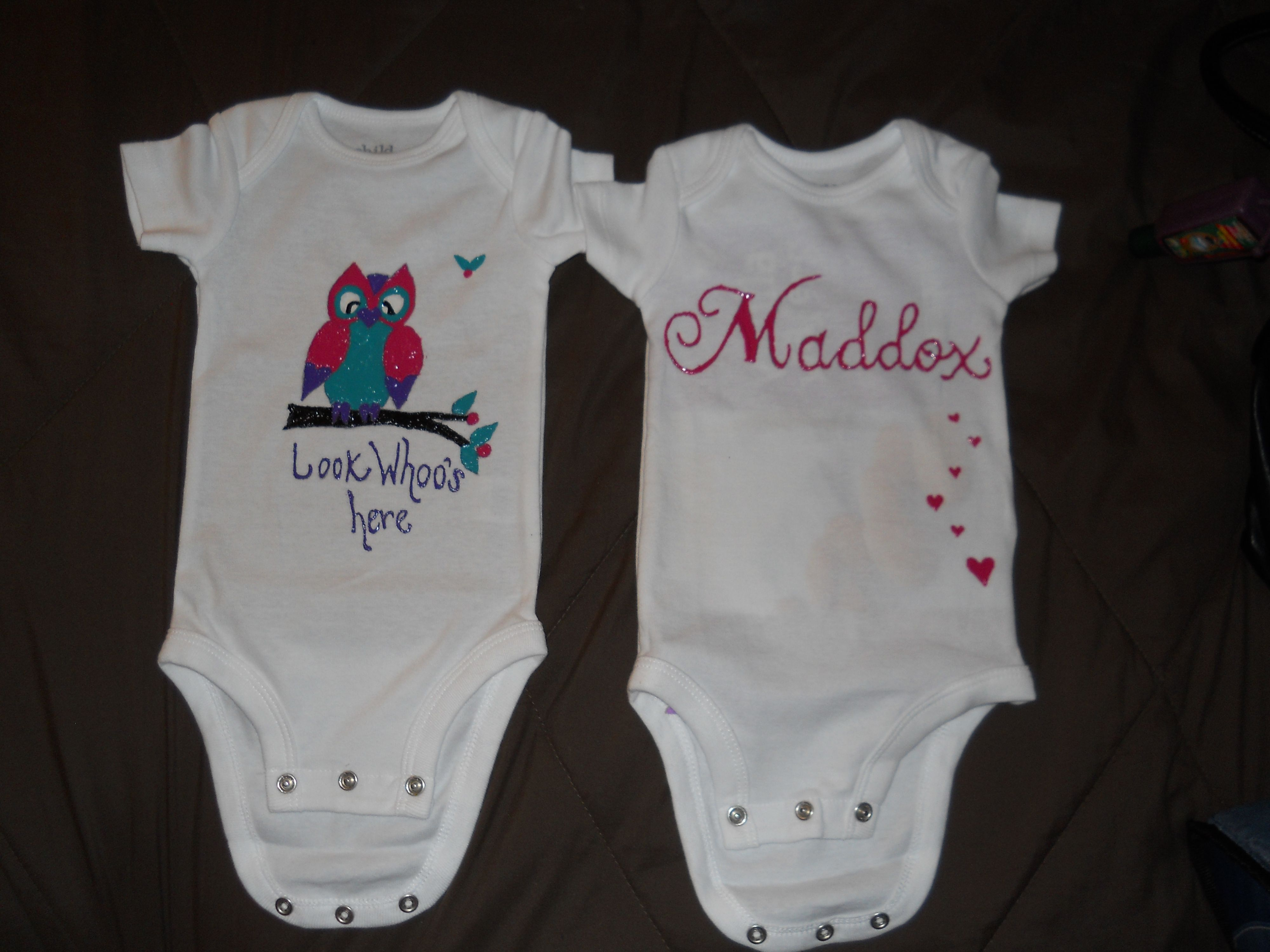 Puffy paint designs - Onesies Decorated With Puffy Paint I Can Write Her Name Or Paint Little Hearts On