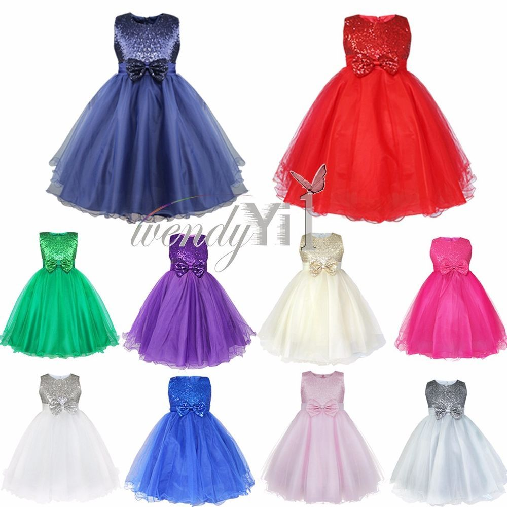 Flower Girl Princess Pageant Wedding Party Formal Sequin Bow Kid Dress Size 2-14
