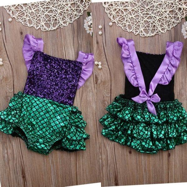 Baby Girl Sequin Mermaid Romper Bodysuit Toddler Outfit