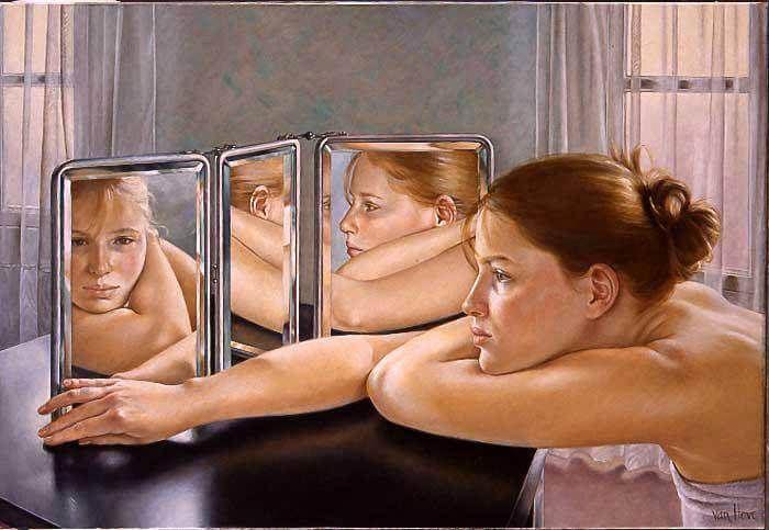 La Ley Del Espejo Nos Plantea Que El Origen De Nuestros Sentimientos Negativo Hacia Una Persona Esta Mujer Frente Al Espejo Espejo Dibujo Psicologa Emocional