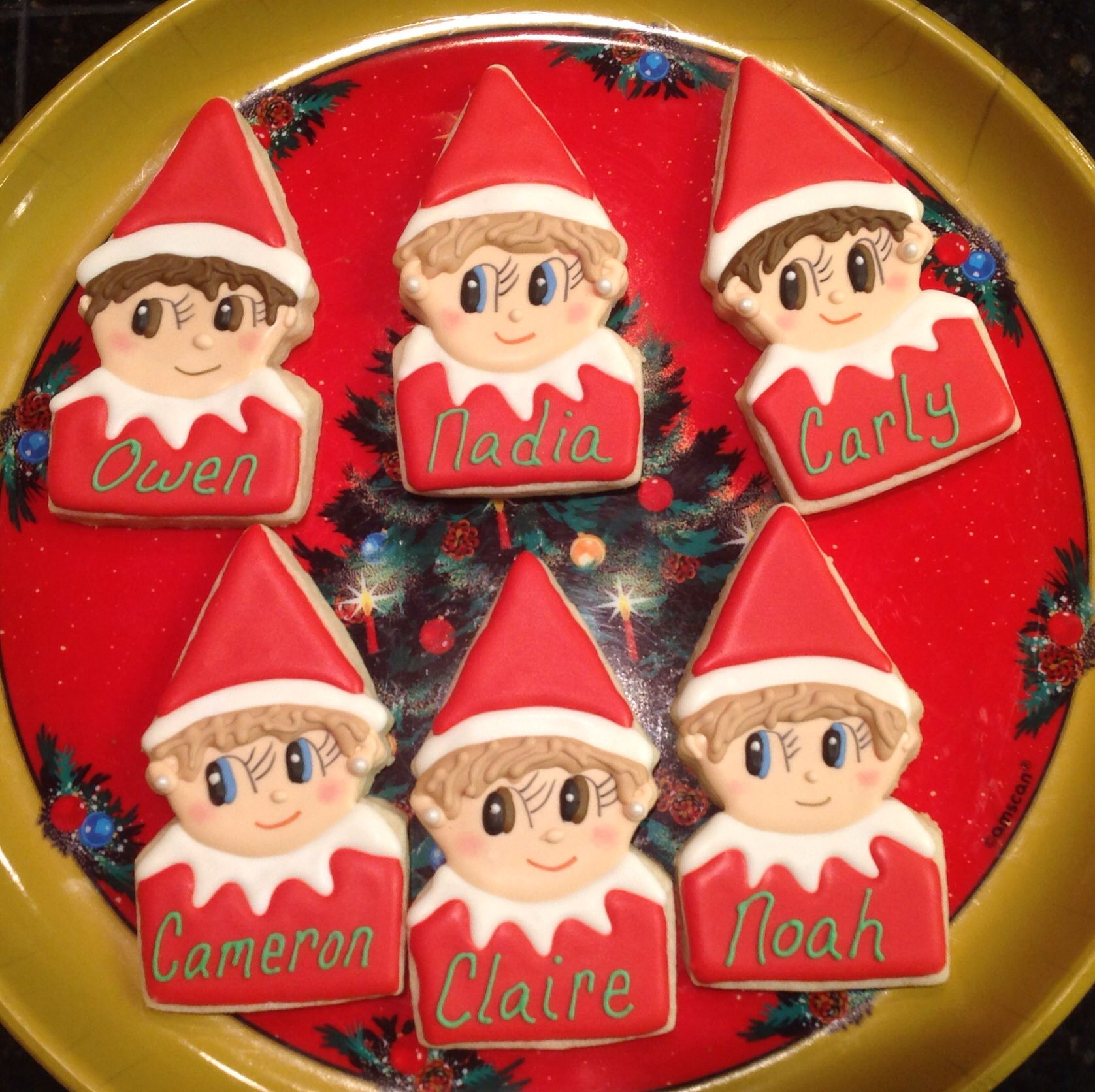 Personalized Elf On The Shelf Decorated Sugar Cookies By I