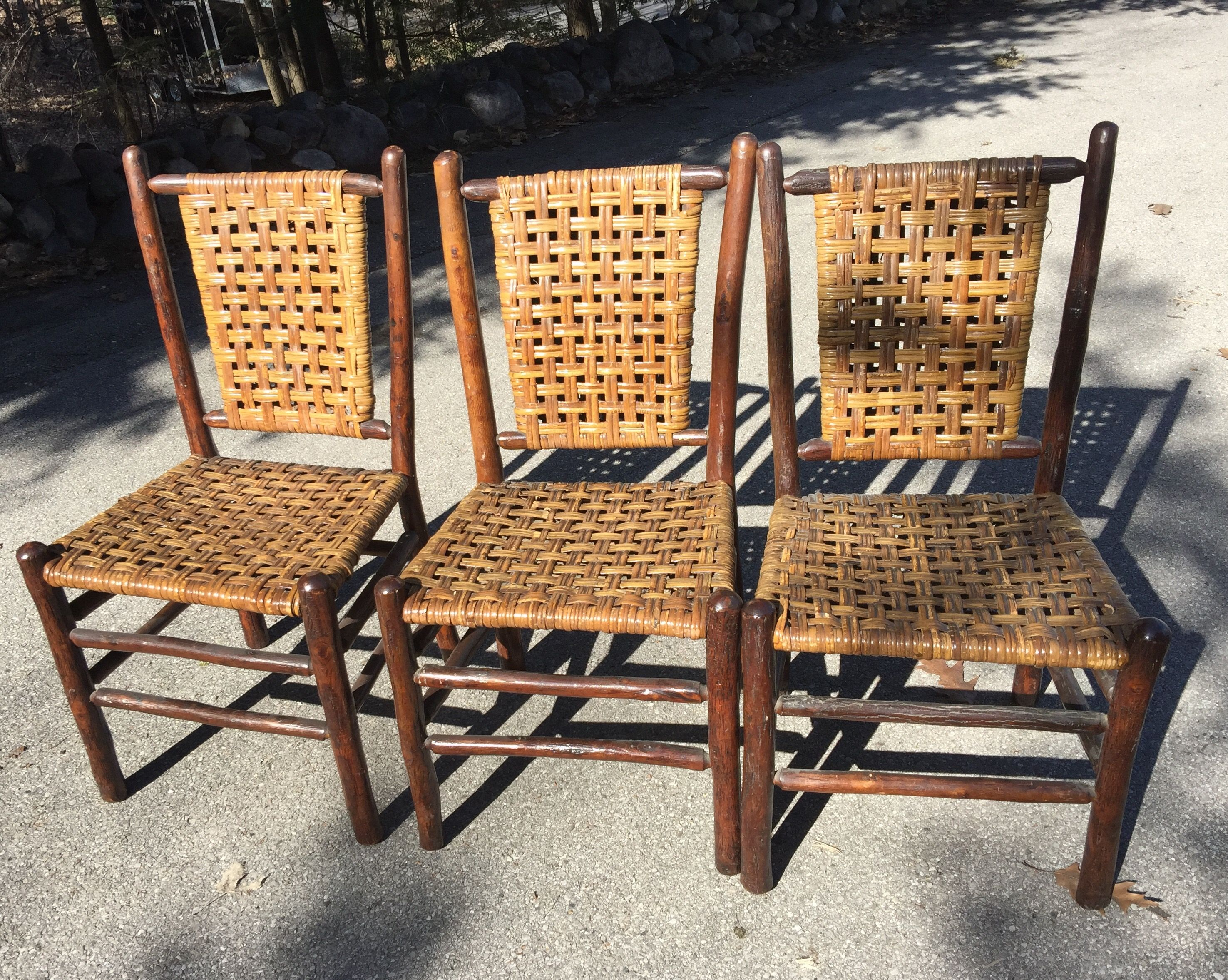 Matching set 3 signed old hickory chairs skip weave rattan sold christibys