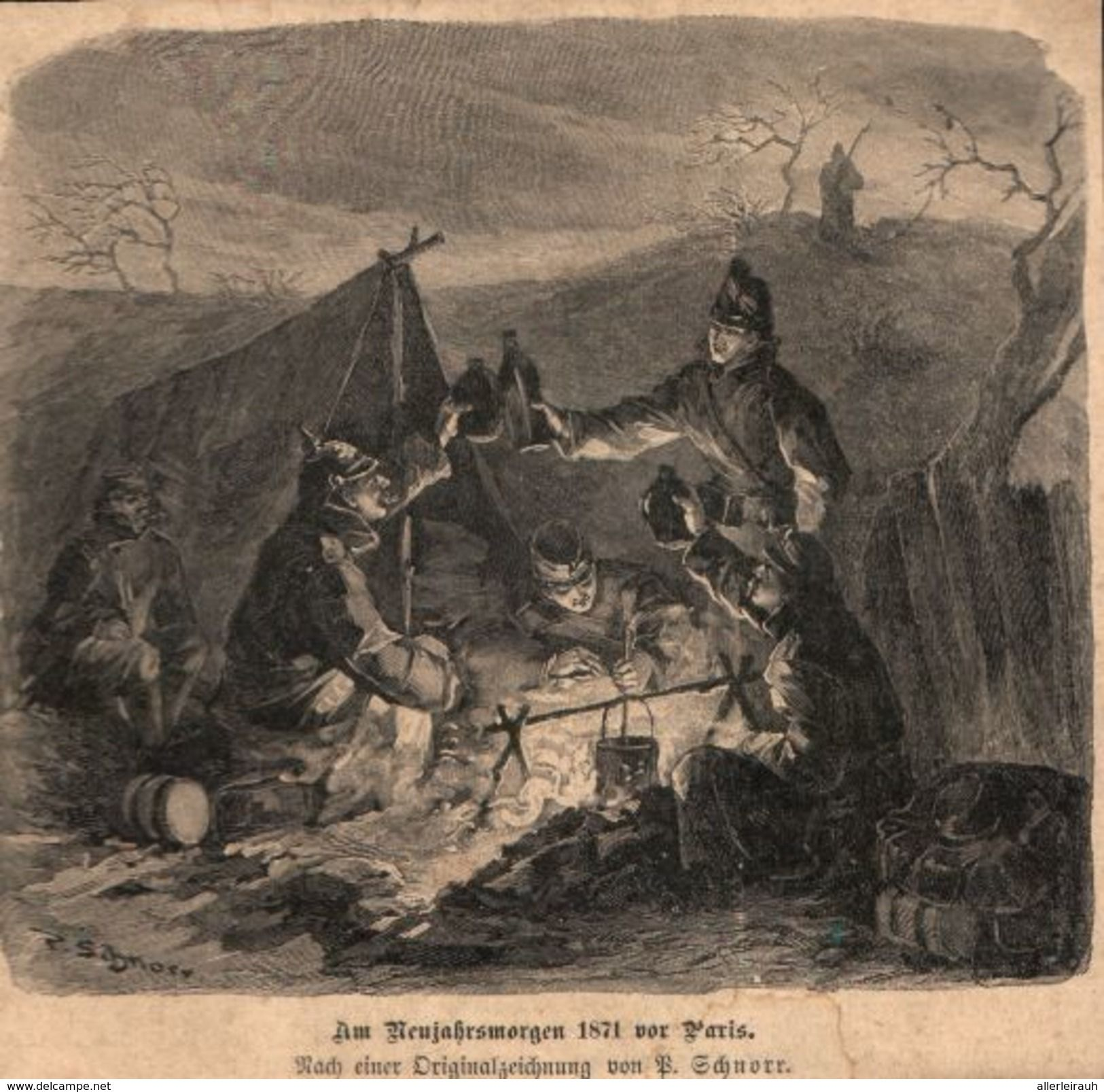 Am Neujahrsmorgen 1871 Vor Paris B Schnorr Druck Entnommen Aus Zeitschrift 1896 Zu Verkaufen Auf Delcampe Zeitschriften Paris Drucken