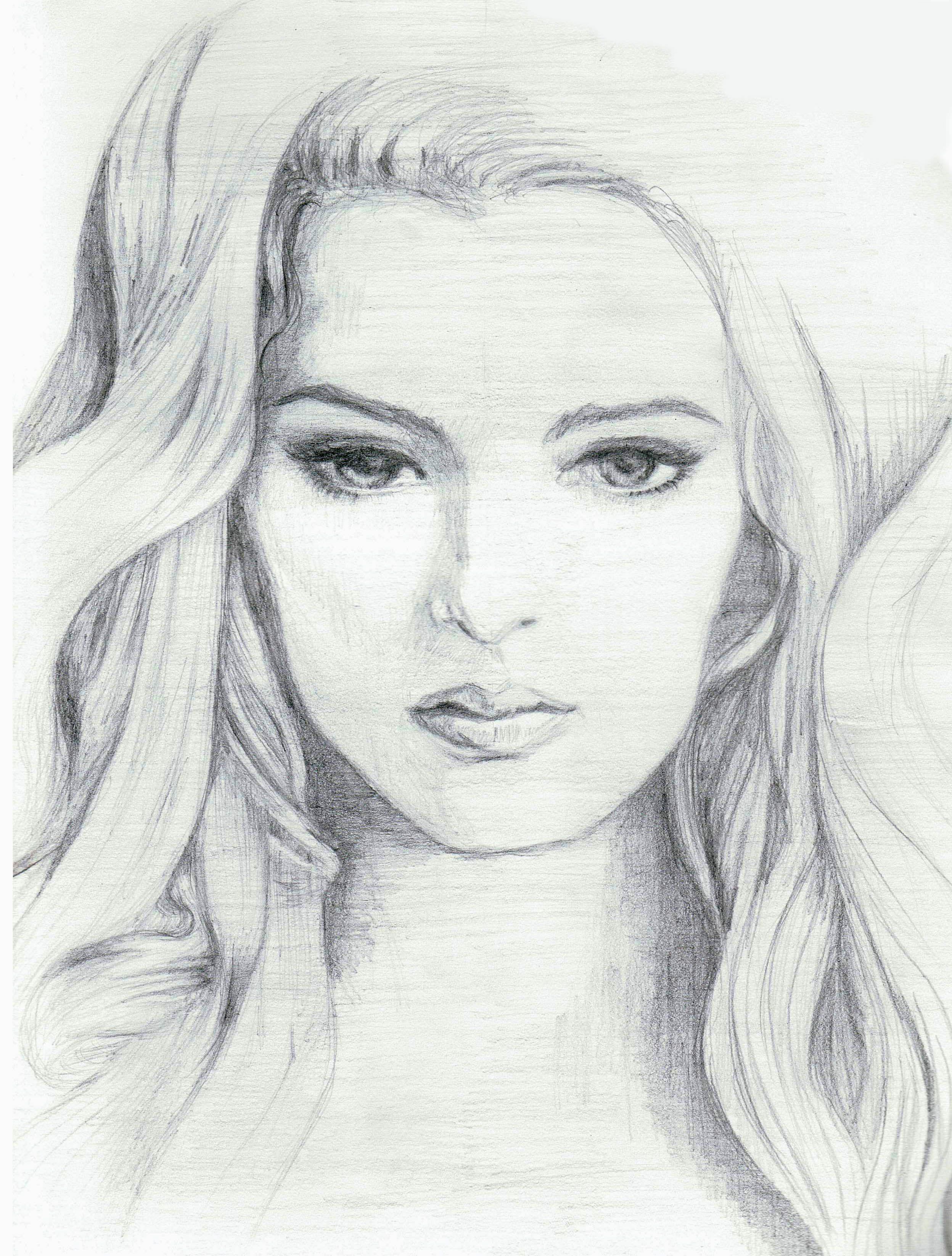 Pencil Sketch Of Woman Face