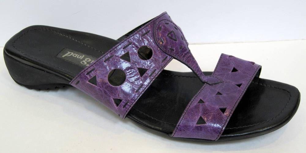 paul green munchen purple patent leather t strap slide sandal size 8