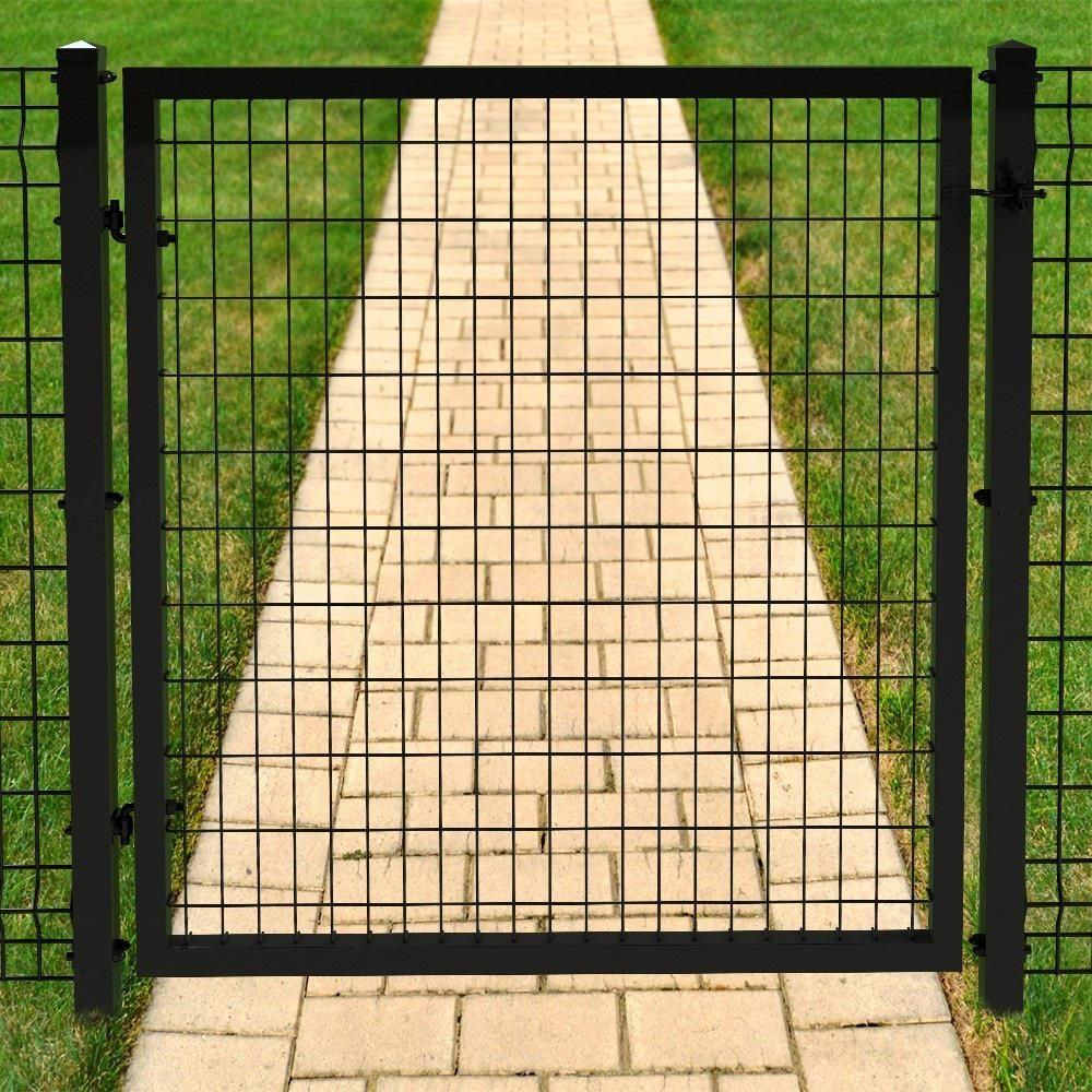 forgeright deco grid 4 ft x 4 ft black steel straight fence gate