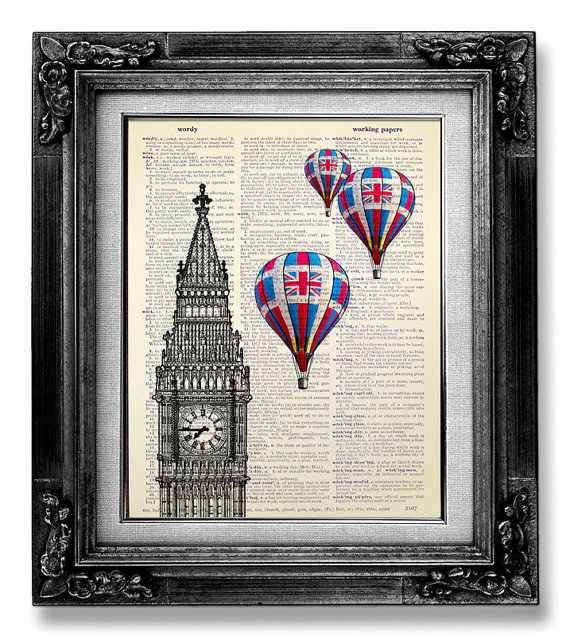 Home office decor london art print big ben print hot air for Balloon decoration london