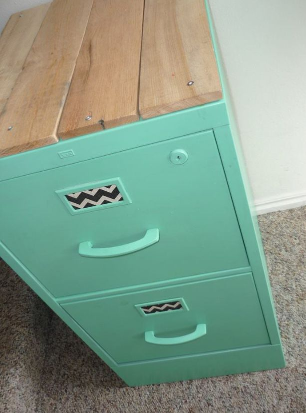 Refurbished File Cabinet Lovely Mint Green Color And Reclaimed Timber Cladding On Top