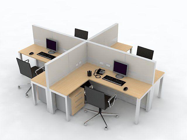 Isla de estaciones tipo l con paneles divisorios altos oficinas comunitarias pinterest - Paneles divisorios para oficinas ...