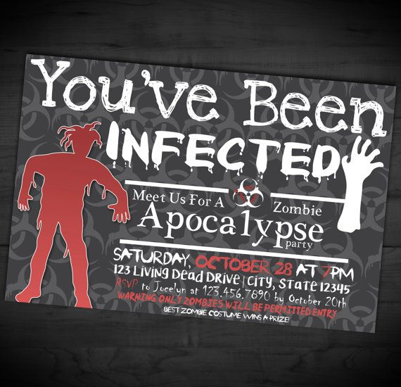 zombie apocalypse party invitation halloween adult party invite youve been infected - Zombie Halloween Invitations