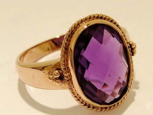 SUPERB-9ct-Solid-ROSE-Gold-Large-Natural-AMETHYST-Ring-made-in-your-size