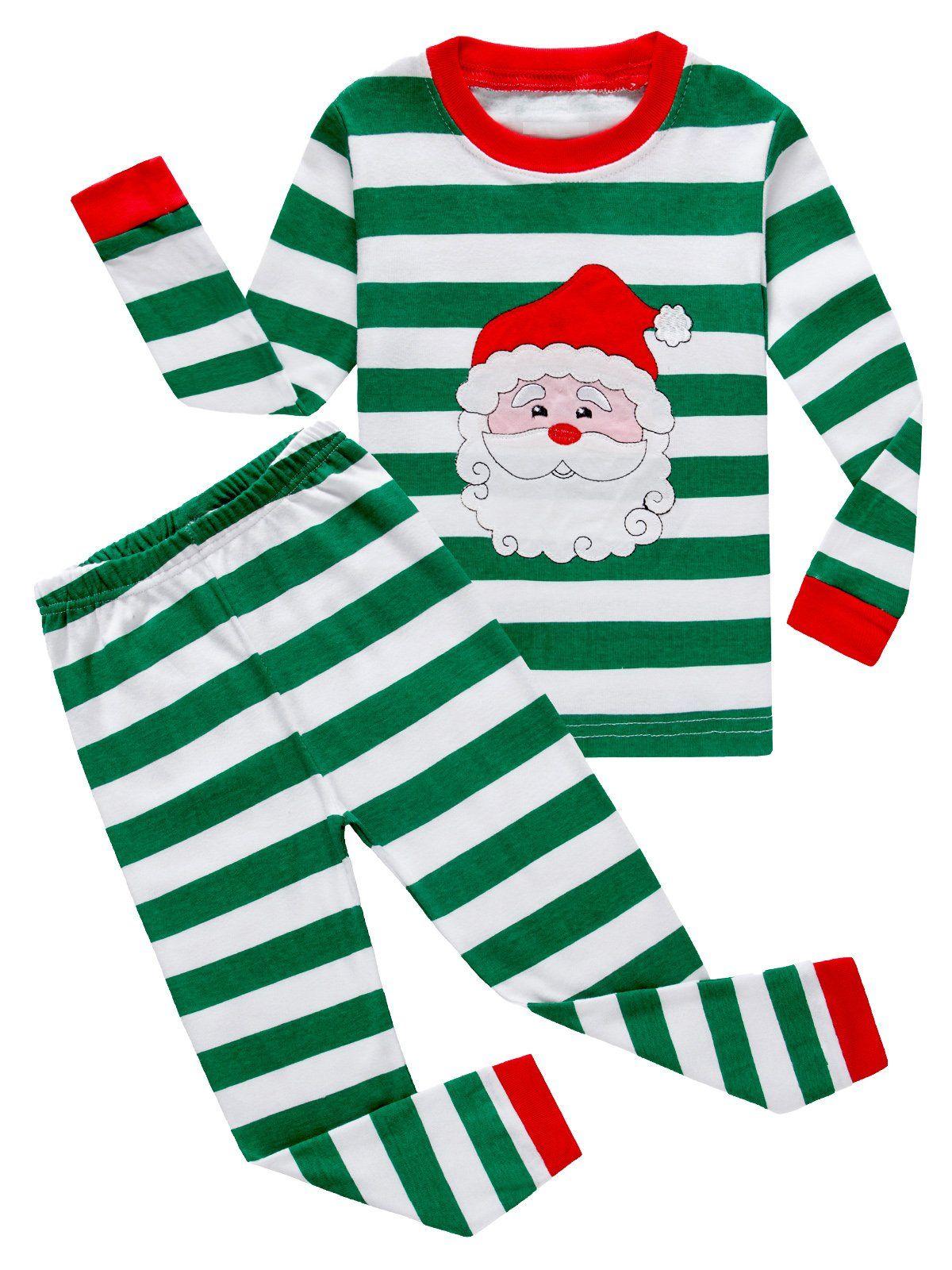a7a6b51b66 Family Feeling Little Boys Girls  Santa Claus Christmas Cotton Long Sleeve  Pajama Set T Shirts Pants 4 Years. 100% cotton. Machine wash. Imported.