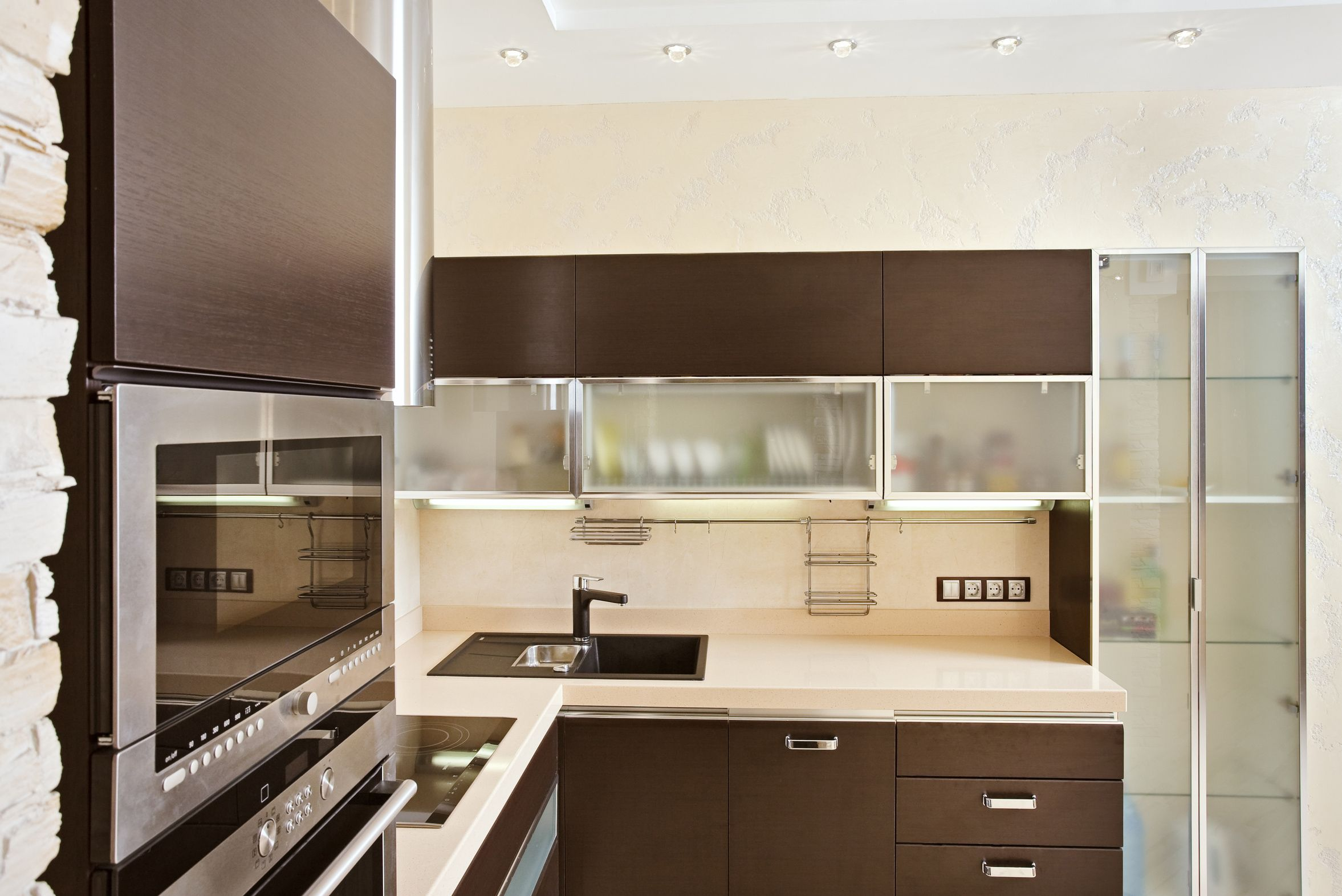 Aluminum Frame Glass Cabinet Doors | Frame Style: BRW | Anodizing: Chrome |  Insert: Frosted Glass