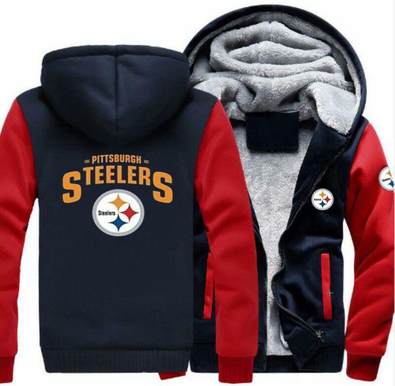 new style 9e424 b332b NFL Men's Thicken Hoodie Pittsburgh Steelers Fan Zipper ...