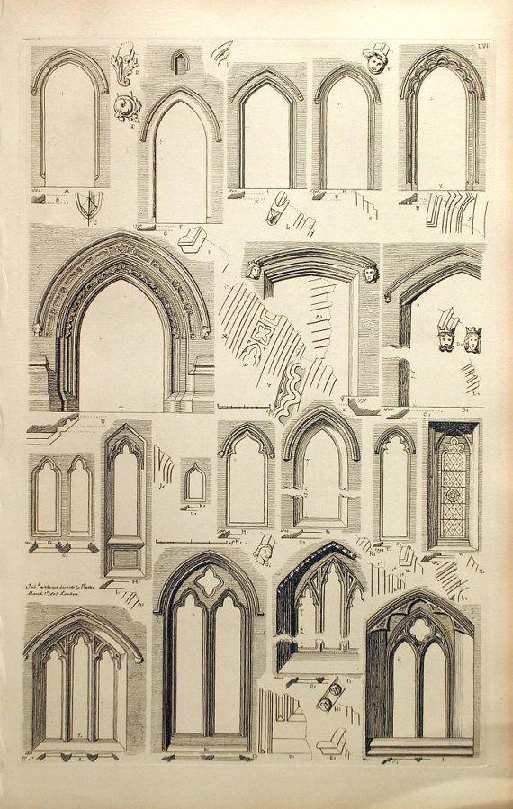 1845 antiguo grabado de la arquitectura británica  inglés | Etsy