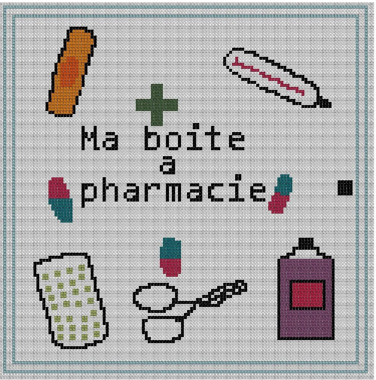 grille point de croix pdf ma boite pharmacie tutoriels de fabrication par grillabroder. Black Bedroom Furniture Sets. Home Design Ideas