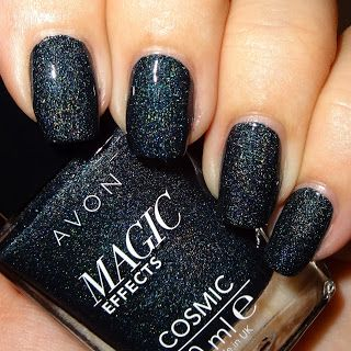 Wendy's Delights: Avon Magic Effects Nail Polish - Cosmic Range - Eclipse @avonuk #avoncosmetics #avonuk #avonnailpolish #holographicnails #blacknails