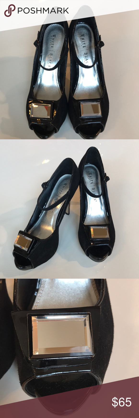 """🥂🍾GORGEOUS WHITE HOUSE BLACK MARKET HEELS🍾🥂 🥂🍾GORGEOUS WHITE HOUSE BLACK MARKET HEELS🍾🥂. Perfect condition. Size 8 1/2 Medium. Beautiful suede type fabric. Shiny black heels and under the mirror embellishments. 4 1/2"""" heel 1/2"""" platform. Very unique. Cool heels. Lots of compliments.🖤💋🎉  🖤BUNDLE ITEMS AND PAY SHIPPING ONCE 🖤 🍾HAPPY POSHING 🍾 🥂ORDERS ARRIVE GIFT WRAPPED WITH A FREE GIFT 🥂 White House Black Market Shoes Heels"""