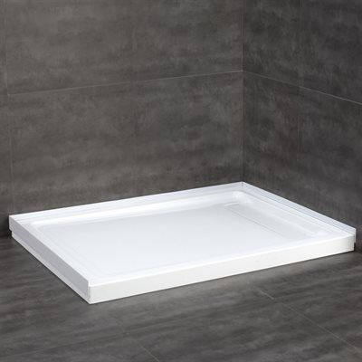 JACUZZI 32 In W X 48 In L White Acrylic Shower Base