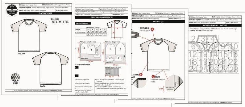 Raglan T Shirt For Men Pdf Sewing Pattern 5 Sizes Xs To Etsy T Shirt Sewing Pattern Pdf Sewing Patterns Plus Size Sewing Patterns