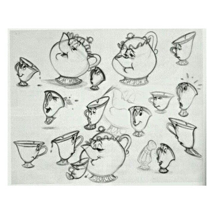 Beauty And The Beast Model Sheets Mrs Potts Chip Characters