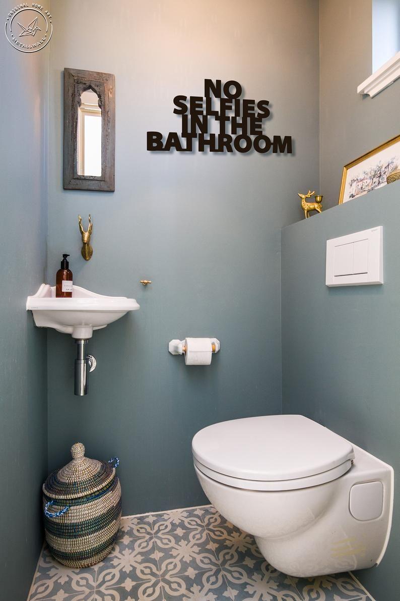 No Selfies In Bathroom Metal Letters Bathroom Wall Art Home Etsy In 2020 Toilet Trends Small Toilet Room Toilet Design