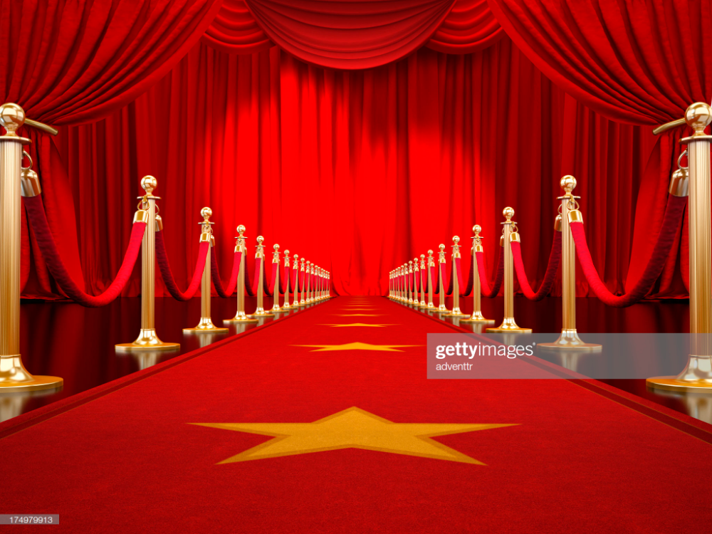 Red Carpet With Gold Stanchions And Velvet Ropes Leading To The Stage Red Carpet Invitations Template Red Carpet Invitations Red Carpet Party