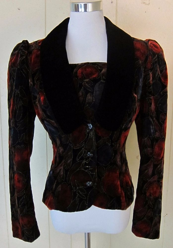 Jessica McClintock Velvet Glitter Short Lined Jacket Black Red Purple Floral 8 S #JessicaMcClintock #ShortFitted