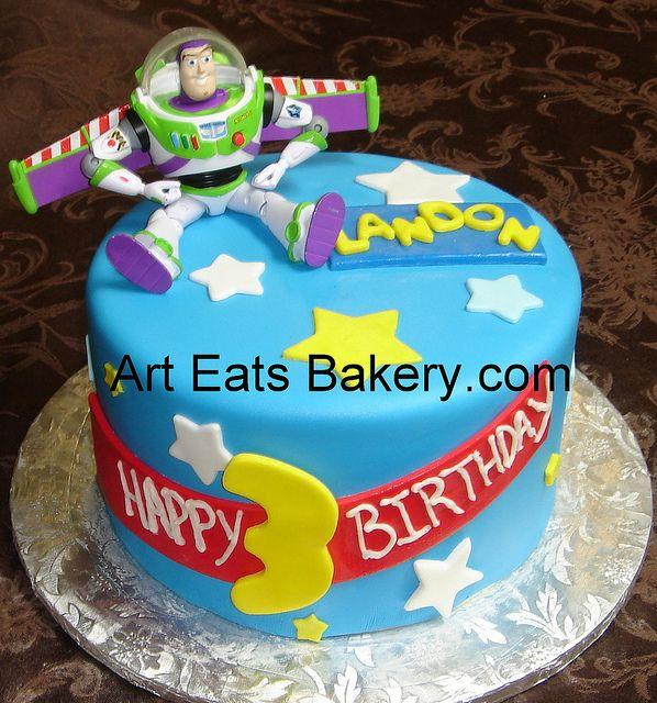 Super Buzz Lightyear Custom Fondant Kids Birthday Cake With Toy Buzz Funny Birthday Cards Online Inifodamsfinfo