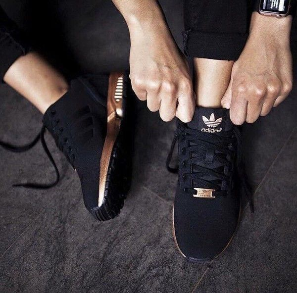 Shoes: adidas running black and gold sneakers adidas black and gold zx flux adidas  black rose gold - Street Fashion