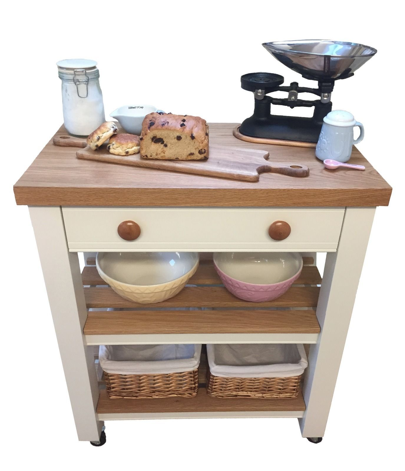 Solid Wood Butchers Block Kitchen Trolley Island Unit Ebay