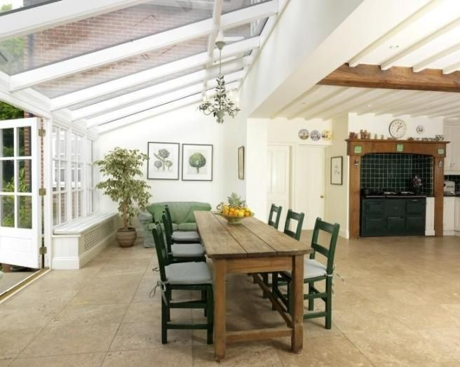 Photo of contemporary cool farmhouse kitchen traditional for Traditional kitchen extensions