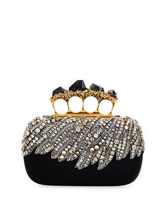 61ecf207ddb6 Stone Eagle-Embroidered Knuckle Clutch Bag