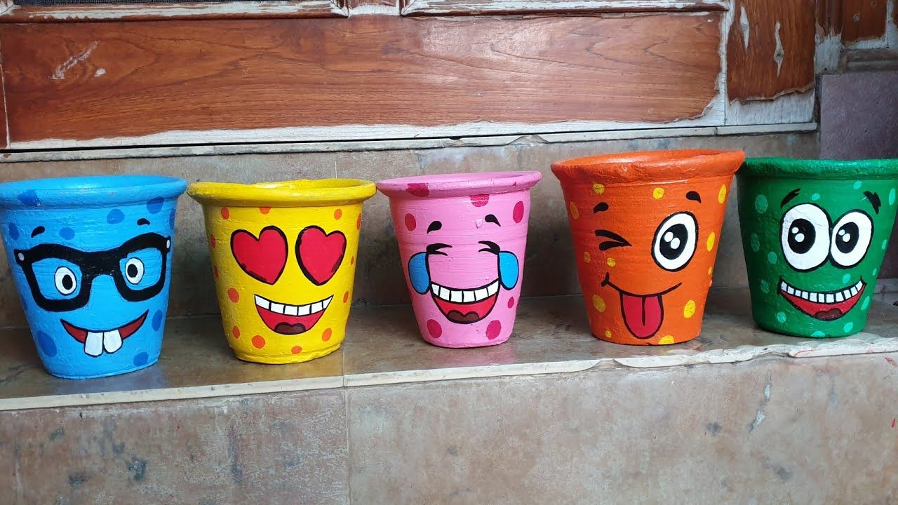 Pot Painting Ideas Diy Emoji Planters In 2020 Painted Flower Pots Diy And Crafts Flower Pots