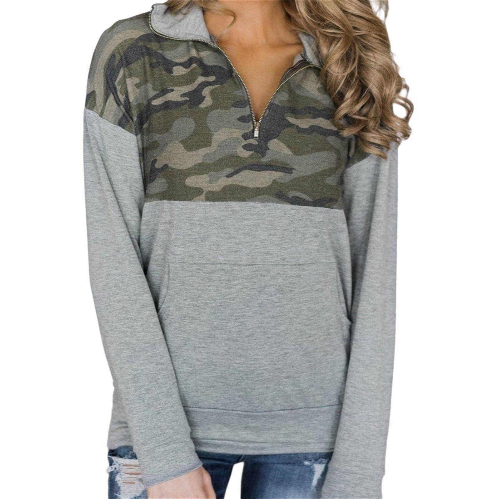 Kangaroo Pocket Zip Collar Sweatshirt in Christmas ideas