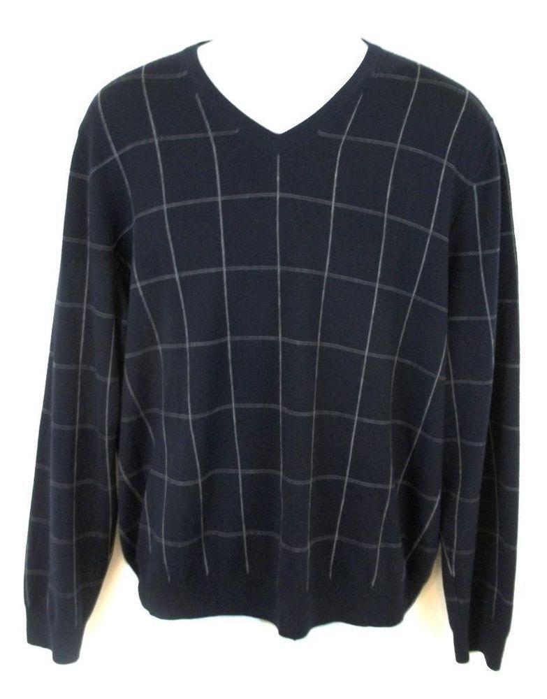 2ec96d97592479 Brooks Brothers Sweater Mens L Large Black W/ White Stripes 100% Merino Wool  #BrooksBrothers #VNeck