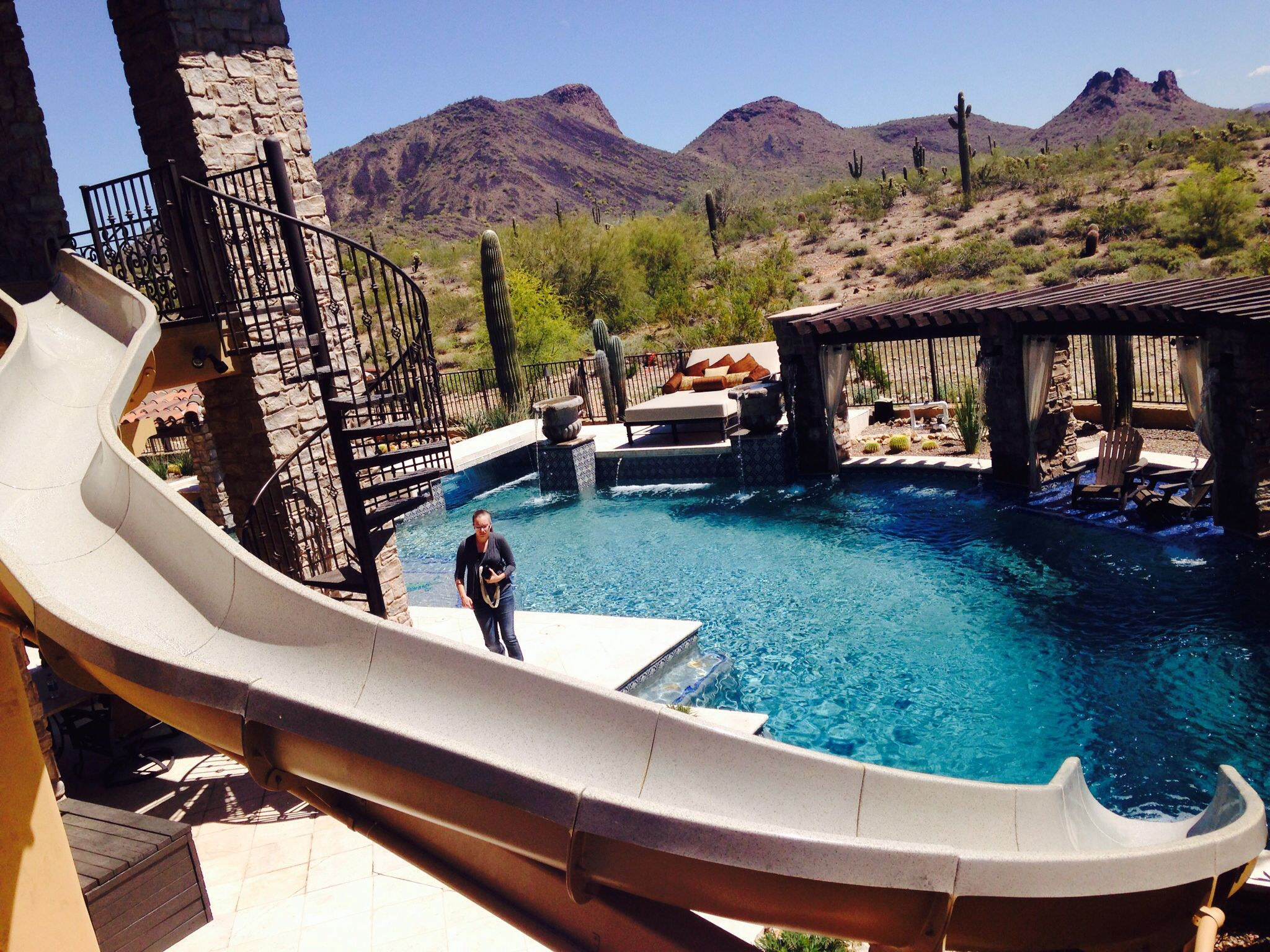 Water slide addition. Dream pools, Presidential pools