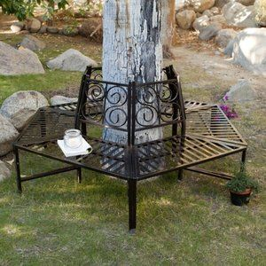 Coral Coast Scrollback Metal Tree Surround Bench 260 With Images